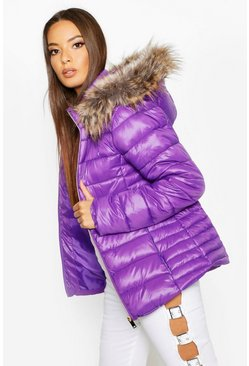 Womens Purple Faux Fur Trim Quilted Puffer