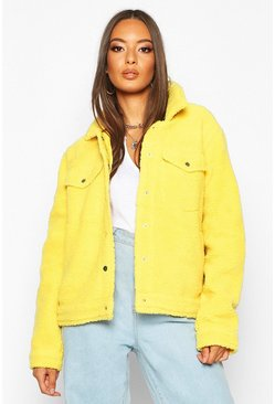 Womens Yellow Teddy Faux Fur Trucker Jacket