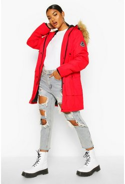 Womens Red Belted Parka With Faux Fur Trim Hood