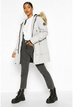 Grey Belted Parka With Faux Fur Trim Hood