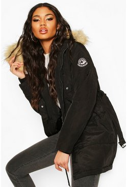Black Belted Parka With Faux Fur Trim Hood