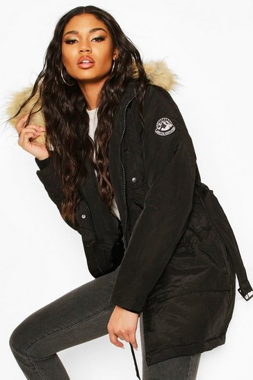Womens Black Belted Parka With Faux Fur Trim Hood