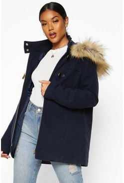 Womens Navy Faux Fur Wool Look Duffle Coat
