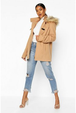 Camel Faux Fur Trim Wool Look Duffle Coat