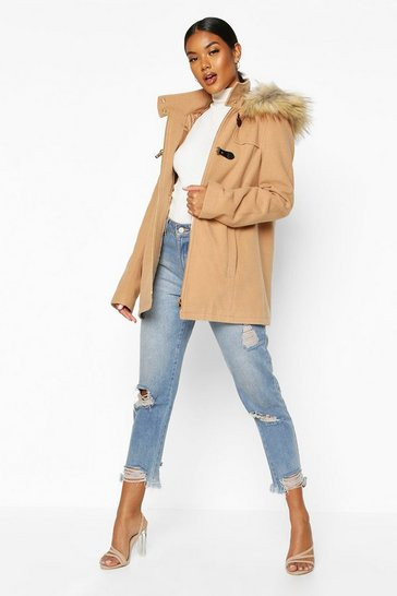 Womens Camel Faux Fur Trim Wool Look Duffle Coat
