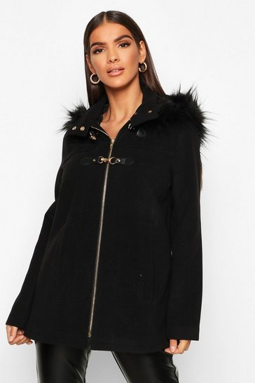 Womens Black Faux Fur Trim Wool Look Duffle Coat