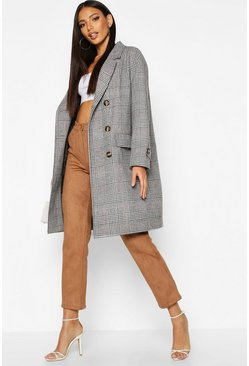 Grey Check Wool Look Trench Coat