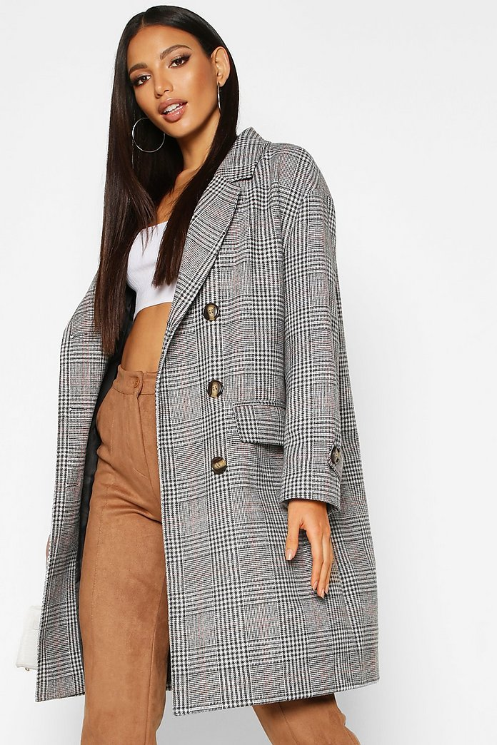 CHECK WOOL LOOK TRENCH COAT