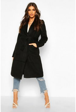 Womens Black Brushed Wool Look Robe Coat