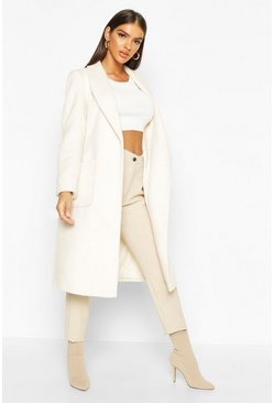Womens Ivory Brushed Wool Look Robe Coat