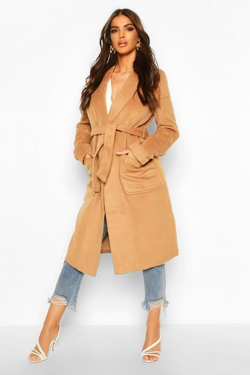 Womens Camel Brushed Wool Look Robe Coat