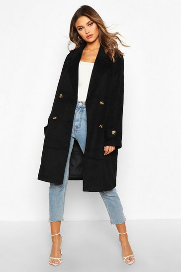 Black Brushed Wool Look Pocket Detail Coat