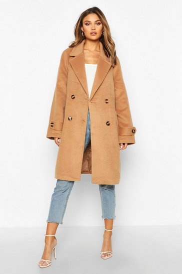Womens Camel Brushed Wool Look Pocket Detail Coat