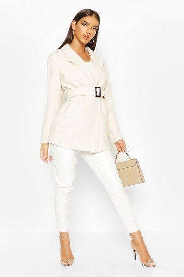 Womens Ivory Belted Wool Look Blazer Coat