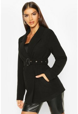 Womens Black Belted Wool Look Blazer Coat