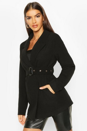 Black Belted Wool Look Blazer Coat