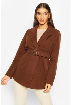 Chocolate Belted Wool Look Blazer Coat