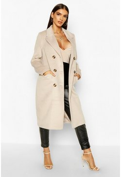Womens Stone Brushed Wool Look Double Breasted Coat
