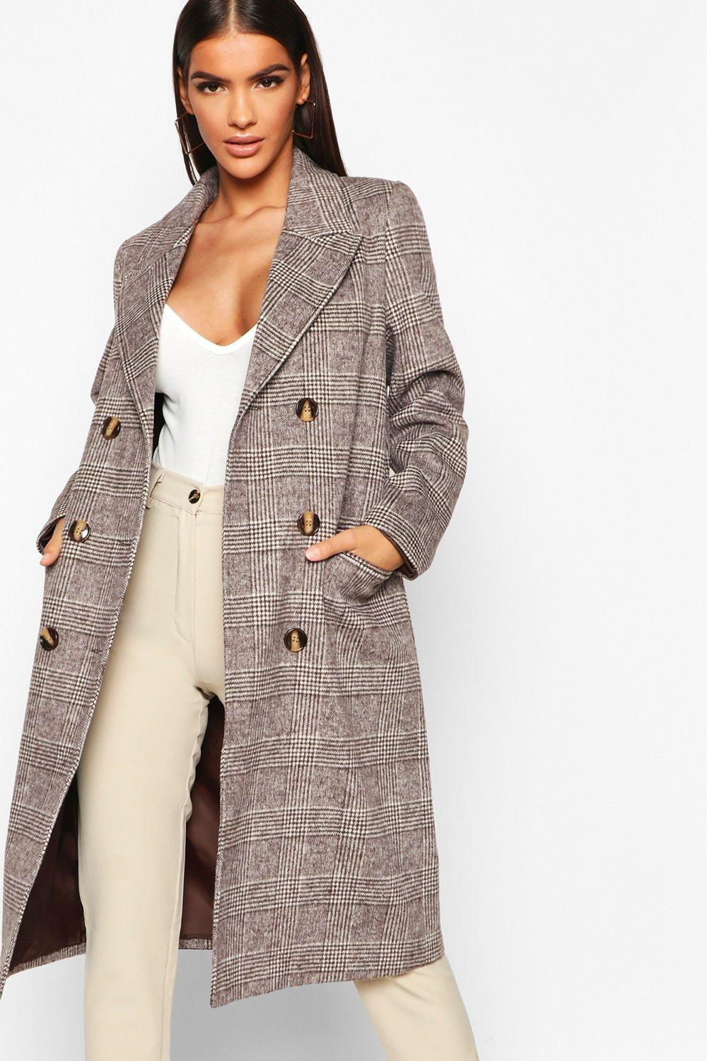 Double Breasted Tonal Check Wool Look Coat