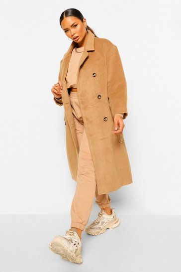 Womens Camel Brushed Double Breasted Belted Wool Look Coat