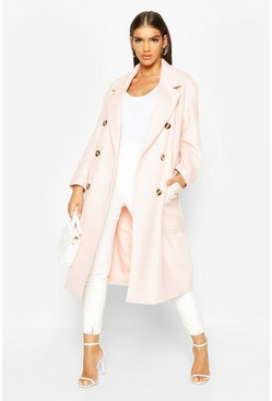 Rose Brushed Double Breasted Belted Wool Look Coat
