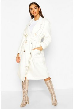 Ivory Brushed Double Breasted Belted Wool Look Coat