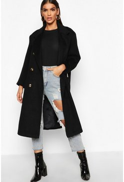 Womens Black Brushed Double Breasted Belted Wool Look Coat