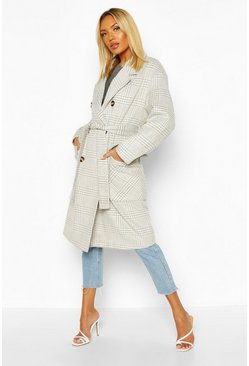 Womens Grey Tonal Check Wool Look Belted Coat