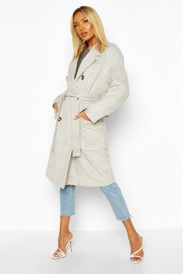 Grey Tonal Check Wool Look Belted Coat