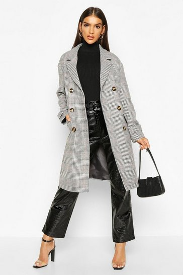 Womens Grey Check Double Breasted Wool Look Coat