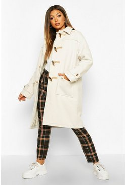 Ivory Collared Wool Look Duffle Coat