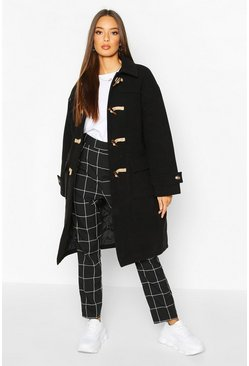 Womens Black Collared Wool Look Duffle Coat