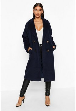 Navy Brushed Double Breasted Wool Look Coat
