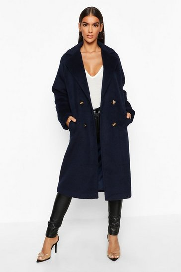 Womens Navy Brushed Double Breasted Wool Look Coat