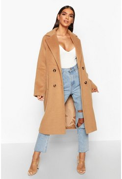 Womens Camel Brushed Double Breasted Wool Look Coat