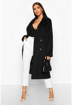 Womens Black Brushed Double Breasted Wool Look Coat