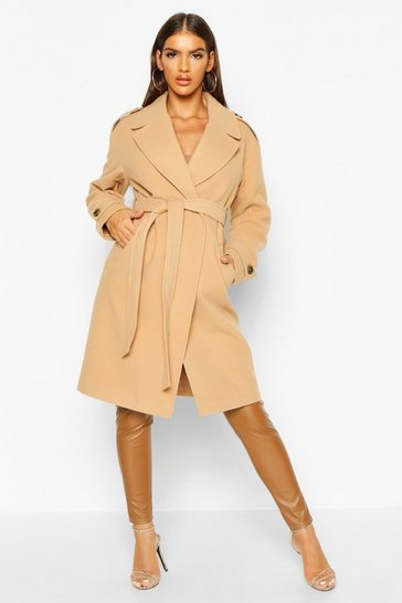 Womens Camel Belted Collared Wool Look Coat