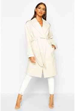 Womens Ivory Belted Collared Wool Look Coat