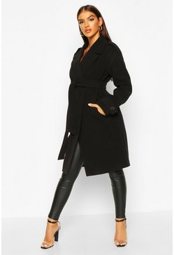 Womens Black Belted Collared Wool Look Coat