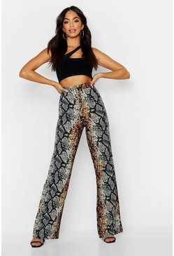 Pantalon tissé coupe large imprimé serpent, Rouille, Femme