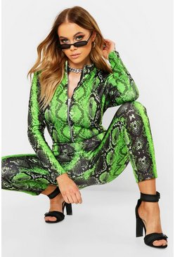 Womens Green Neon Snake Zip Jumpsuit