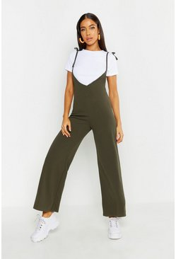 Womens Khaki T-Shirt Under Layer Wide Leg Jumpsuit