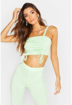 Womens Soft lime Strappy Ruched Rib Crop Top