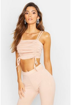 Womens Stone Strappy Ruched Rib Crop Top