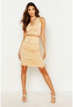 Womens Camel Ruched Bodycon Skirt