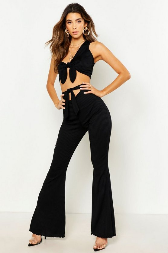Womens Black Knot Front Rib Flare Trouser