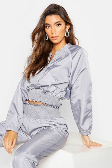 Womens Grey Shirred Crop Shell Suit Top