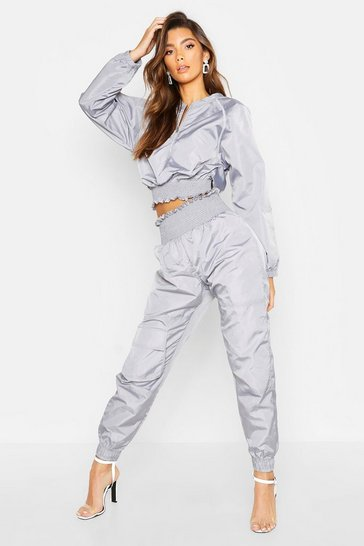 Womens Grey Shirred Shell Suit Trouser
