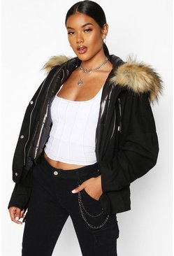 Womens Black Faux Fur Trim Detachable Gilet Parka