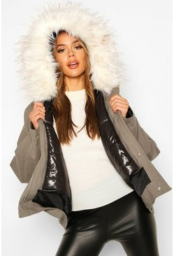 Khaki Faux Fur Trim Detachable Gilet Parka